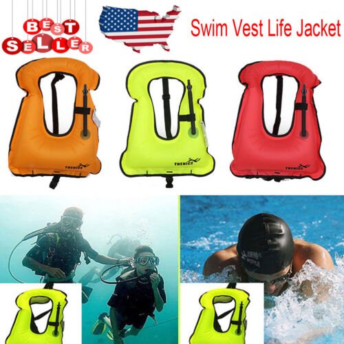 3Color Kids/Adults Inflatable Life Jacket Vest for Travel Su