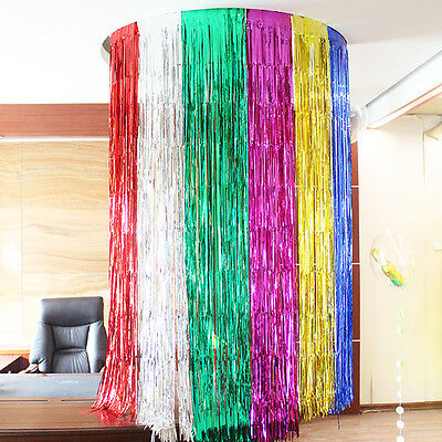 Foil Fringe Door Curtain Halloween Xmas Party Wedding Photo Booth Props Backdrop