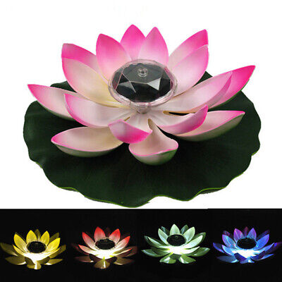 Solar LED Lotus Flower Lamps Waterproof Garden Floating Pond Decora Night Lights Floating Flower Lights
