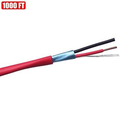 1000ft Shielded Solid Fire Alarm Cable 162 Copper Wire 16awg Fplr Cl3r Ft4 Red