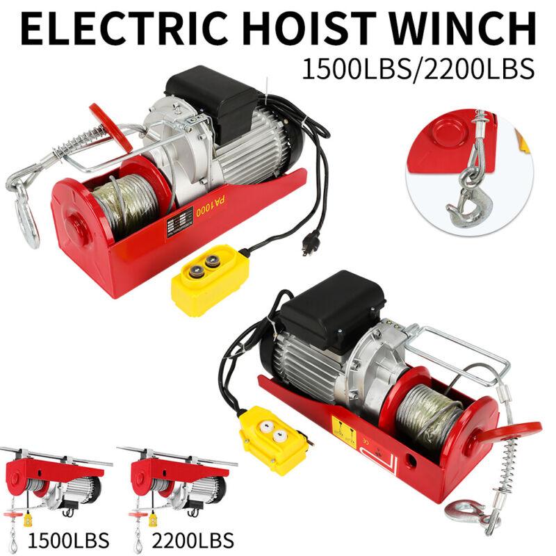 1500 or 2200 lbs Hoist Crane Lift Garage Auto Shop Winch Electric Cable W/Remote
