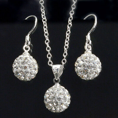 925 Sterling Silver CZ Crystal Ball Dangling Earrings & Shamballa Necklace Set
