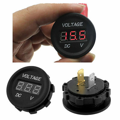 1x Red Led Digital Display Waterproof Voltmeter 12v-24v Car Atv Utv Rv Meter