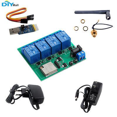 Esp32s 4 Channel Wifi Bluetooth Relay Module Esp32-wroom-32u Euus Adapter