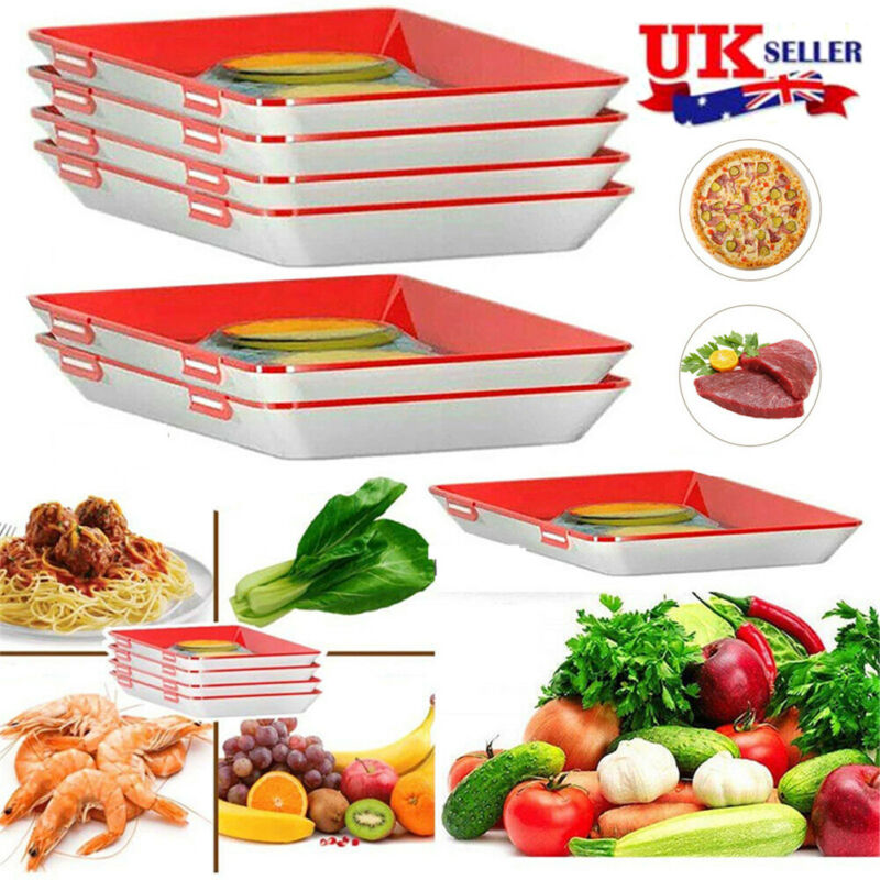 4 pcs Food Preservation Tray Containe Set Kitchen Storage Tools Creative US