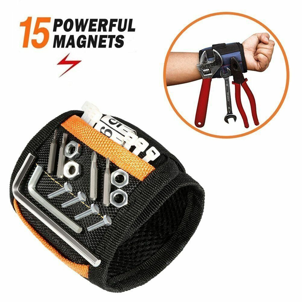Magnetic Wristband with 15 Strong Magnets for Holding Screws Nails Drill Bits Home & Garden