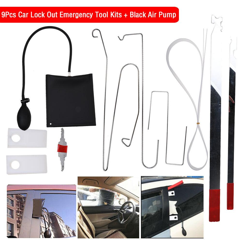 9Pcs Car Door Key Lost Lock Out Emergency Open Unlock Tool Kit w// 3 Air Pump UK
