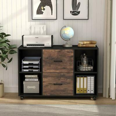 Wood Mobile File Cabinet Letter Size 2 Drawers Blackrustic Brown Printer Stand
