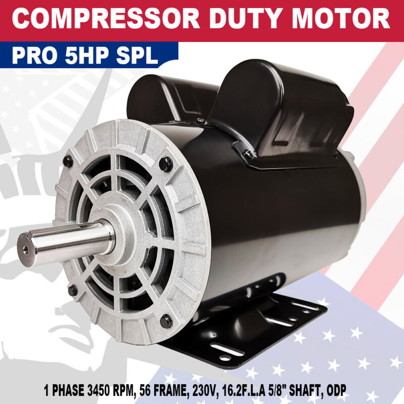 5 HP SPL Air Compressor Duty Electric Motor 56 Frame 3450 RPM Single Phase 60 HZ