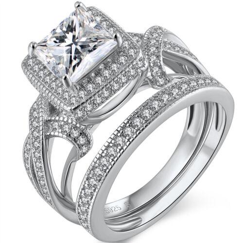 Princess Cut Cubic Zirconia Wedding Ring Sterling Silver Cz Halo Bridal Ring Set
