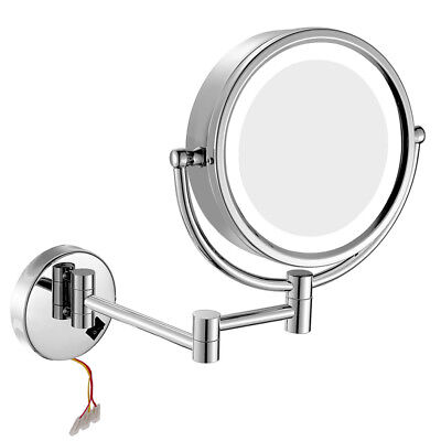 GURUN LED Lighted Hardwired Wall Mount Chrome Makeup Mirror 10X/1X Magnifying  Chrome Wall Mount Mirror