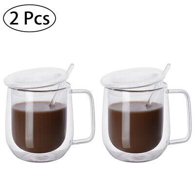 Tazza in Vetro a Doppia Parete Bicchiere Tazzine Vetro Calici da Acqua+cucchiaio