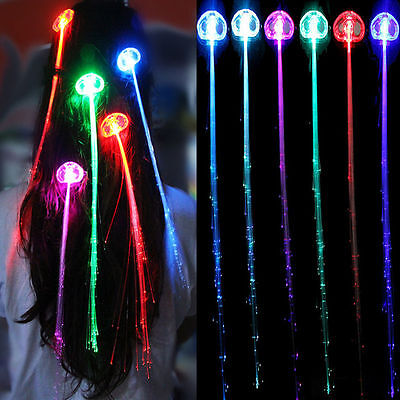 1PC New LED Fiber Optic RGB Lights Up Hair Barrette Clip Glow in the Dark Braid - Glow In The Dark Hair Accessories