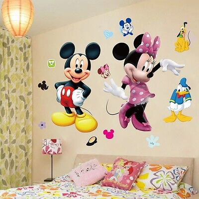 Mickey Mouse Room Decor (Mickey Mouse Minnie Vinyl Mural Wall Sticker Decals Kids Nursery Room Decor)