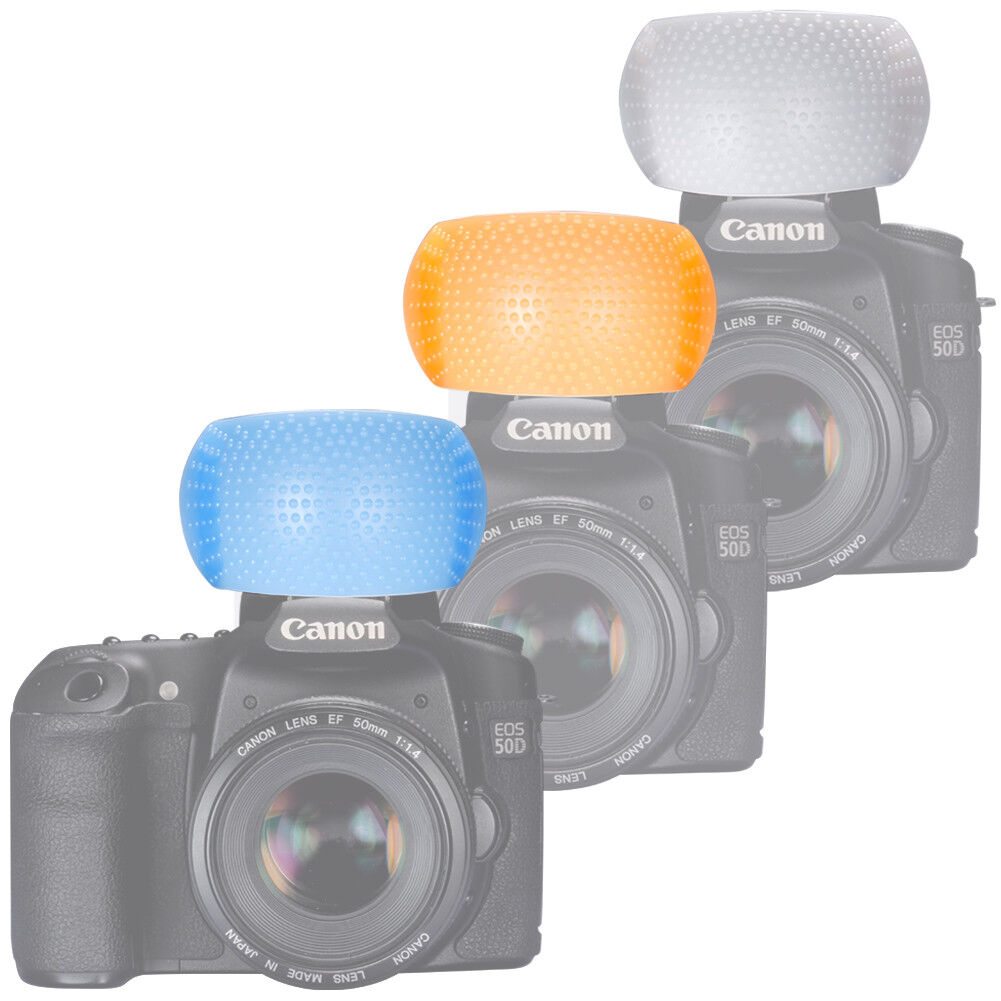 White Amber Blue 3 color Dome PopUp Flash Diffuser Cover for DSLR Camera