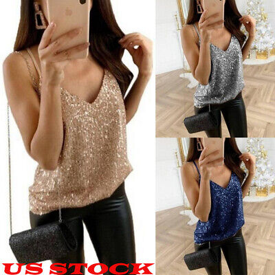 US Women Summer Tank Tops Sequin Sexy Fashion Camisole Sleeveless Casual T-Shirt
