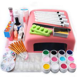 US Nail Art Tools Set 36W UV Lamp Dryer +12 Color UV Gel Nails Tips Polish Kit