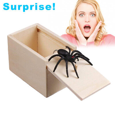 Halloween Box Scare (Surprise Spider in Wooden Box Gag Gift Practical Joke Prank Toy Scare Trick)