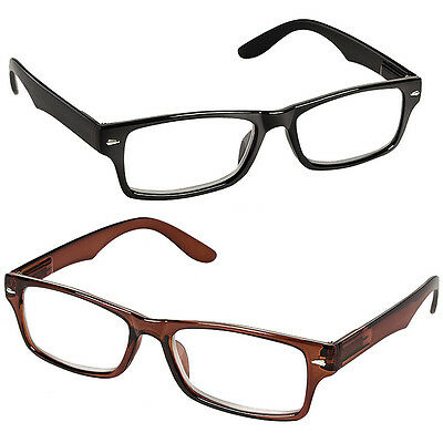 NEW (Set/2) Black And Brown Spring Hinge Reading Glasses - +6.00 Magnification