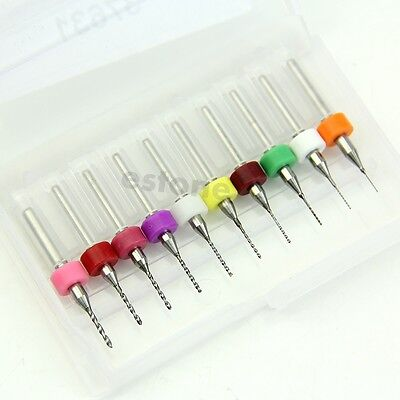 10pcs 0.3mm-1.2 Mm Pcb Print Circuit Board Carbide Micro Drill Bits Tool Diy