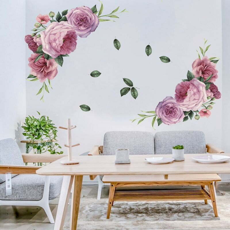 Beautiful Peony Flowers Bird Wall Sticker Decal DIY Home Room Decor Art Mural