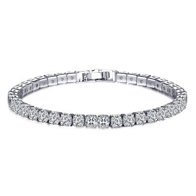 - White Topaz Silver for Women Jewelry Charm Gems Chain Bracelet  7 3/8
