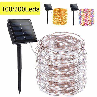 100/200 LED Solar Fairy String Light Copper Wire Outdoor Waterproof Garden -