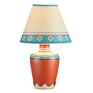 Southwestern table lamps ebay southwestern dcor aztec vase table lamp with shade 14 inches tall aloadofball Choice Image