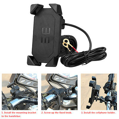 Motorcycle Bike GPS Handlebar Mount Holder USB Charger For Cell Phone iPhone SN