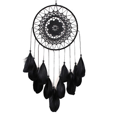 Black Feather Handmade Dream Catcher Car Wall Door Hanging Decoration Ornaments