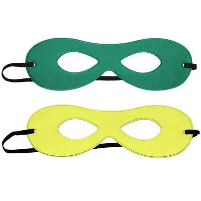 Adult Green/Yellow Reversible Superhero Mask ~ HALLOWEEN COSTUME PARTY EYE MASK - Green Superhero Mask