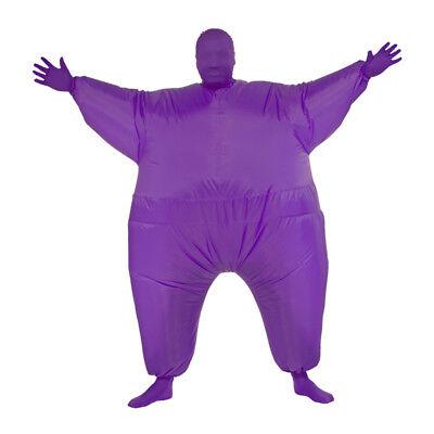 Lila Fett Anzug Aufblasbar Kostüm Overall Jump Sport Fächer Erwachsener - Lila Lustige Aufblasbare Kostüm