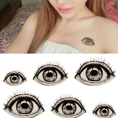 2Pcs DIY Halloween Big Eye Temporary Fake Tattoo Sticker Waterproof Art New