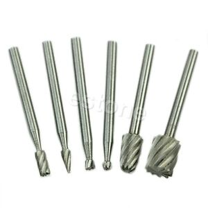 6pcs HSS Routing Router Grinding Bits Burr For Rotary Bosch Tool Useful