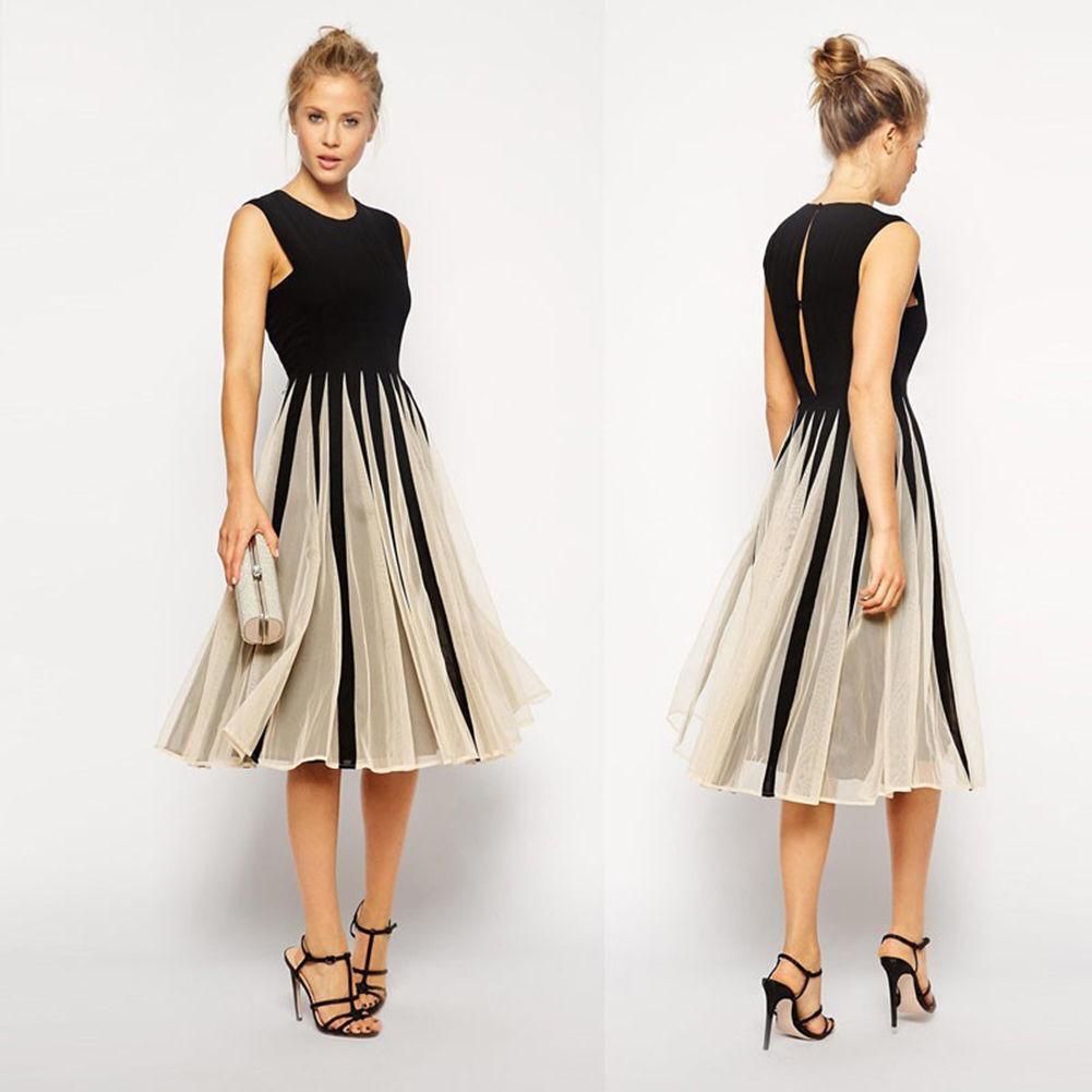 Damen Cocktailkleid Abendkleid Kleid Clubwear Sommer Kleid Schwarz ...