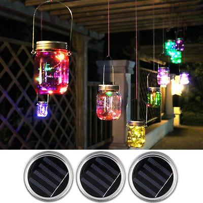 3 Pack Mason Jar Lights 20 LED Solar Colorful Fairy String Lights Lids Insert - Colored Mason Jars Wholesale