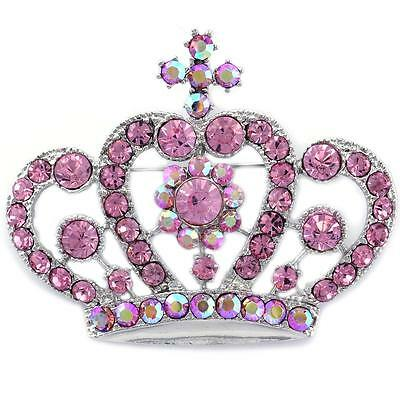 Queen Princess Pink Flower Cross Crown Tiara  Brooch Pin -