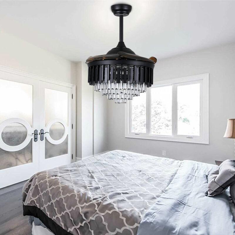"42"" Crystal Ceiling Fan Lamp 4 Retractable Blades Chandelier W/ Remote Control"