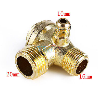 Golden Male 3 Way Brass Thread Air Compressor Check Valve Connector Tool