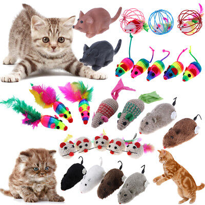 1/3/4/5Pcs Fleece False Mouse Ball Cat Toys Colorful Feather Funny Playing Gift