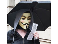 BRAND NEW PARTY MASK V FOR VENDETTA HALLOWEEN BBQ XMAS ANONYMOUS FANCY DRESS.***