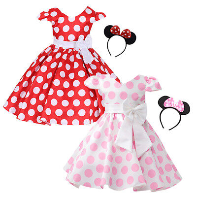 Baby Girl Minnie Mouse Party Fancy Costume Tutu Dress Ear Headband Xmas - Christmas Minnie Mouse Costume