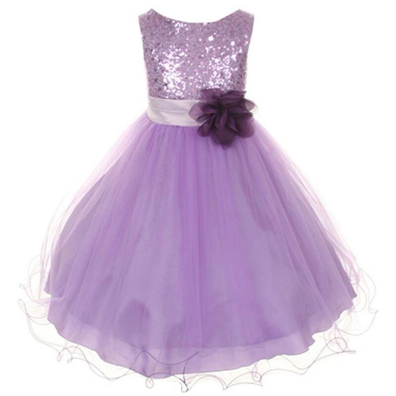 White Purple Flower Girl Dress Ebay