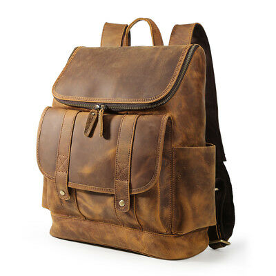 (Retro Brown Men's Leather 15.6'' Laptop Backpack Camping Travel Outdoor Handbag)