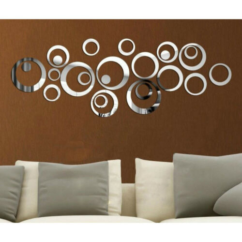 Home Decoration - Circle Mirror Tiles Wall Stickers Bedroom Decal Self-Adhesive DIY Home Art Decor