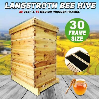 30-frame Size Beekeeping Kit 1 Medium2 Deep Box Wood Complete Honey Bee Hives