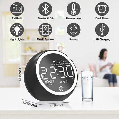 Alarm Clock Dual Alarm Digital FM Radio Bluetooth LED Lamp Music USB Charging