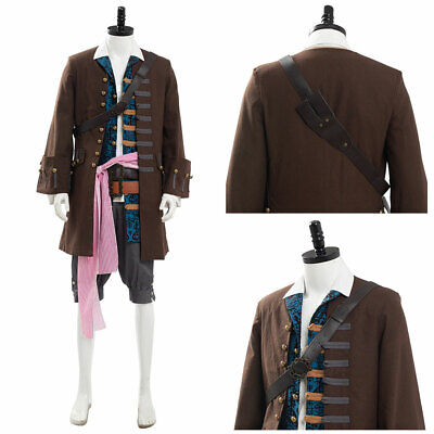Pirates of The Caribbean Jack Sparrow Cosplay Halloween Costume Outfit Full - Jack Sparrow Full Costume