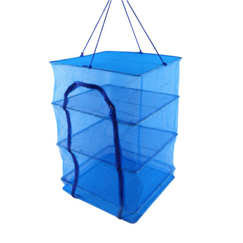 4 Layer Foldable Fish Net Rack Mesh Hanging Dishes Dryer Han