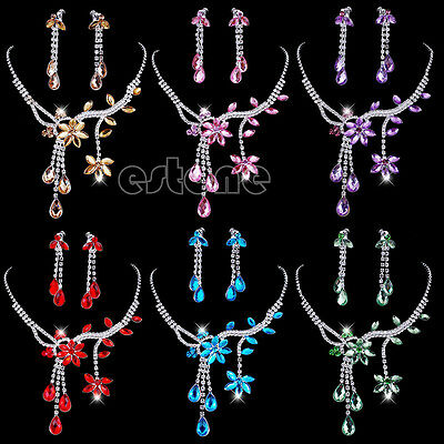 - Wedding Bridal Flower Leaf Rhinestone Crystal Necklace Drop Earrings Jewelry Set